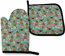 N\A Dog and Rose Blue Oven Mitts and Pot Holders