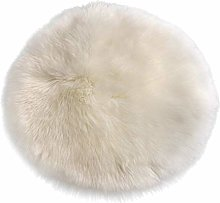 N / A Faux Fur Sheepskin Round Car Stool Seat