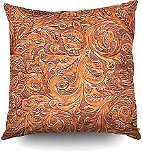 N\A Flower Floral Faux Tooled Leather Brown