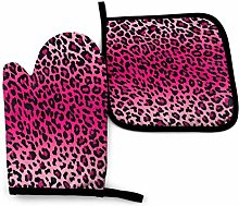 N\A Foruidea Pink Leopard Print Oven Mitts and Pot