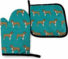 N\A German Boxer Dog Ink Green Background Oven