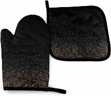 N\A Gold and Black Oven Mitt Cooking Gloves and