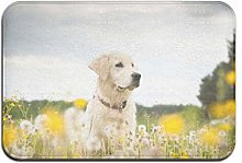 N/A Golden Retriever In Flowers Washable