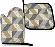 N\A Grey and Gold Wallpaper Oven Mitt Cooking