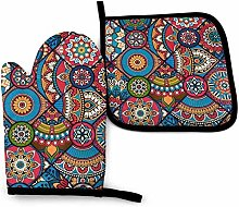 N\A Indian Colorful Pink Tribal Moroccan Oven Mitt
