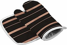 N/A Insulation gloves Black Rose And Gold Stripes