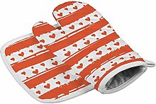 N/A Insulation gloves Orange Hearts And Stripes