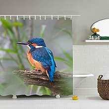 N\A Kingfisher Birds Print Polyester Fabric Shower