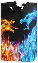 N\A Laundry Hamper, Abstract Fiery Dragons Pattern