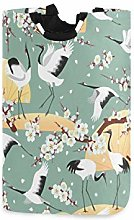 N\A Laundry Hamper, Japanese Cranes Flower Sakura