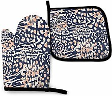 N\A Leopard Blue Oven Mitts and Pot Holders Sets,