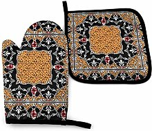 N\A Leopard Yellow Oven Mitts and Pot Holders