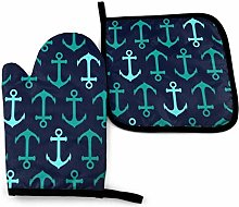 N\A Marine Blue Anchor Anchor Object Oven Mitts