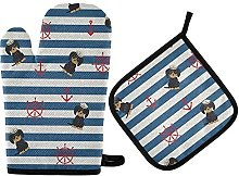N\A MUINDO Anchor Rudder and Navy Dogs Oven Mitts