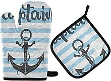 N\A MUINDO Ocean Anchor Captain Navy Oven Mitts