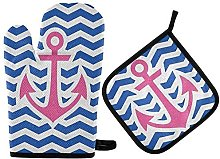 N\A MUINDO Ocean Sea Anchor Navy Oven Mitts and