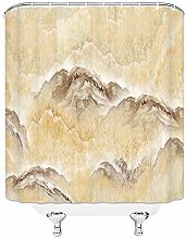 N\A Nature Shower Curtain Misty Mountain with Lake
