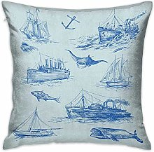N\A Nautical Square Custom Pillowcase Nautical