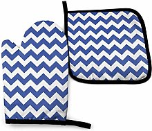 N\A Navy Blue Oven Mitts and Pot Holders Sets,