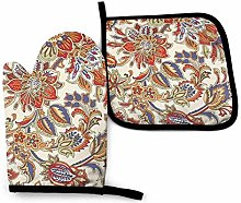 N\A Orange Flower Oven Mitts and Pot Holders Sets,