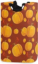 N\A Orange Pumpkin Leafs Laundry Basket Foldable