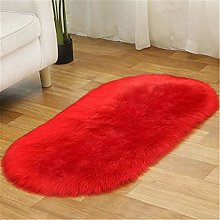 N / A Oval red plush carpet living room coffee