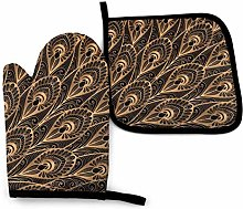 N\A Oven Gloves and Pot Holder 2 Pieces Set Gold