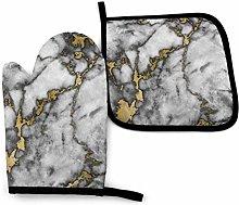 N\A Oven Mitt and Potholder Set Gold White Marble