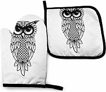 N\A Owl Design T-Shirt Art Oven Mitts and