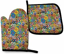 N\A Plant Yellow Oven Mitts and Pot Holders Sets,
