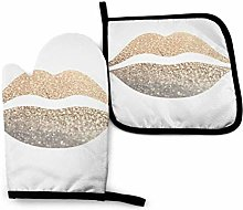 N\A Print Pattern Gold Lips Oven Mitts and