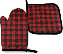 N\A Red Lumberjack Pattern Oven Mitt Cooking