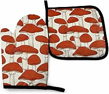 N\A Red White Mushroom Oven Mitt Cooking Gloves
