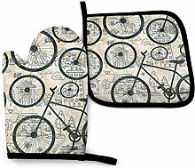N\A Retro Bicycle Oven Mitts and Pot Holders Sets