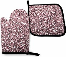 N\A Rose Gold Sequins On Pink Abstract Oven Mitts
