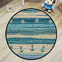 N\A Round Area Rug Circle Rug - Nautical Non-Slip