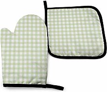 N\A Sage Green Linen Plaid Oven Mitts and