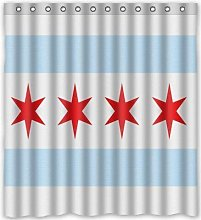 N\A Shower Curtain Chicago Flag Theme, Waterproof