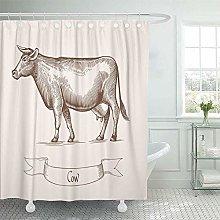 N\A Shower Curtain Set Waterproof Adjustable
