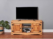 N / A Solid Pine Wood TV Stand Cabinet Unit 120cm