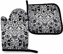 N\A Sugar Black And White Skull Pattern Oven Mitts