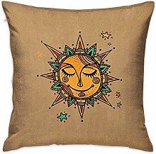 N\A Sun Square Funny Pillowcase Hand Drawn