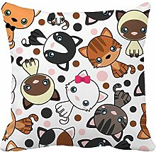 N\A Throw Pillow Cover Baby Black Cat White Grey