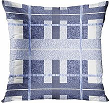 N\A Throw Pillow Cover Blue Abstract Plaid