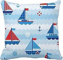 N\A Throw Pillow Cover Blue Boy Waves Pattern Cute