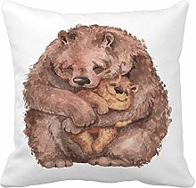 N\A Throw Pillow Cover Brown Animal Mama Bear and