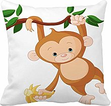 N\A Throw Pillow Cover Brown Cute Baby Monkey on