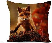N\A Throw Pillow Cover Brown Face Fox Green Animal