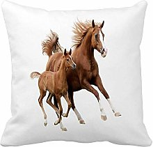 N\A Throw Pillow Cover Brown Horse The Mare Foal