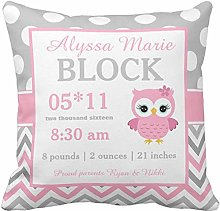 N\A Throw Pillow Cover Cute Girl Gray Pink Owl